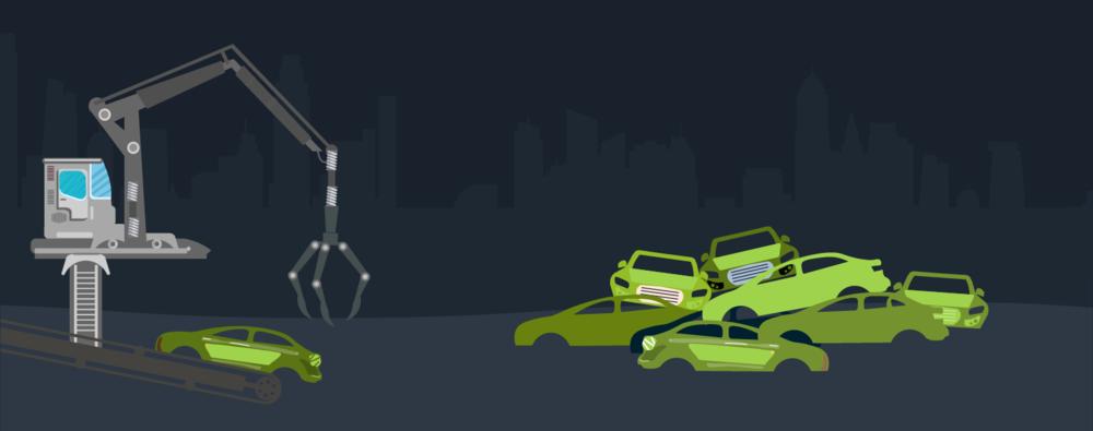 collection of scrap cars in Northfleet